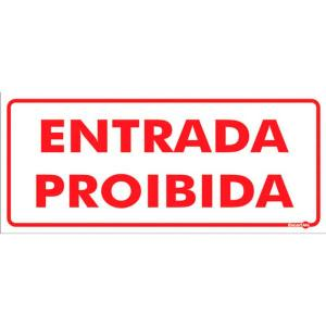 Placa Entrada Proibida 13x30 PS151 - Encartale