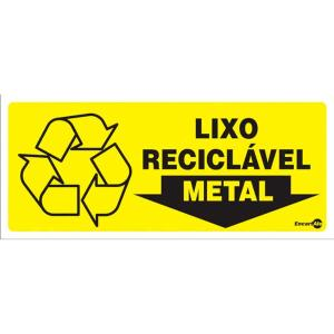 Placa Lixo Metal 13x30 PS196 - Encartale