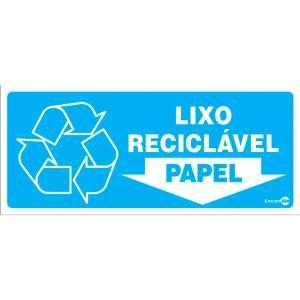 Placa Lixo Papel 13x30 PS193 - Encartale