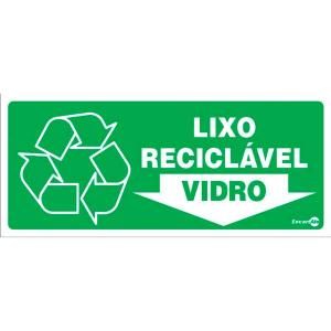 Placa Lixo Vidro 13x30 PS194 - Encartale