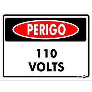 Placa Perigo 15x20 110V PS129 - Encartale