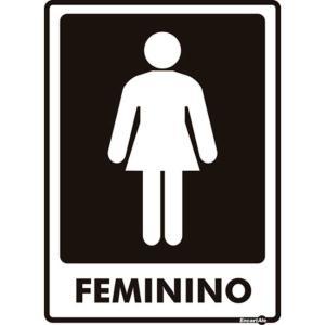 Placa de Sinalização Plástico 15x20cm Banheiro Feminino PS65 - Encartale