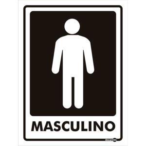 Placa de Sinalização Plástico 15x20cm Banheiro Masculino PS66 - Encartale