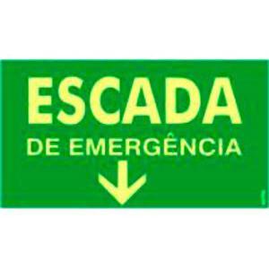 Placa Escada de Emergência 15x25 PS317F - Encartale