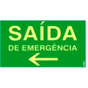 Placa Saída de Emergência à Esquerda 15x25 PS310F - Encartale