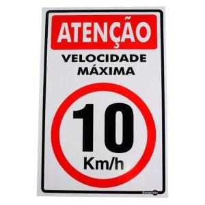 Placa de Sinalização Plástico 20x30cm Atenção Velocidade Máxima 10Km/h PS255 - Encartale