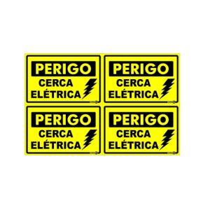 Placa de Sinalização Plástico 20x30cm Cerca Elétrica PS168 - Encartale