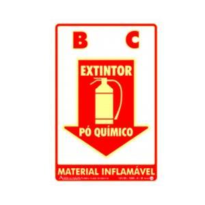 Placa de Sinalização Extintor Pó Químico Fotoluminescente 20x30cm PAF300 - Encartale