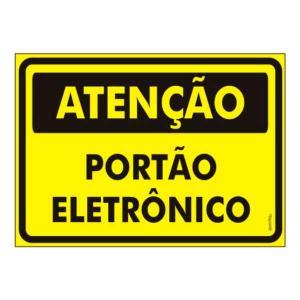 Placa de Sinalização Plástico 20x30cm Atenção Portão Eletrônico PS479 - Encartale