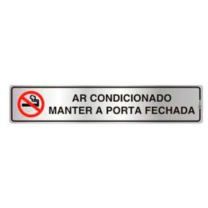 Placa de Sinalização para Ar Condicionado - Manter a Porta Fechada em Alumínio 05x25cm C05029 - Indika