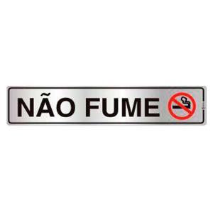 Placa de Sinalização Não Fume em Alumínio 05x25cm C05075 - Indika