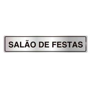 Placa de Sinalização para Salão de Festas em Alumínio 05x25cm C05022 - Indika