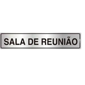 Placa de Sinalização Alumínio 05x25cm Sala de Reunião C05002 - Indika