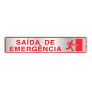 Placa de Sinalização para Saída de Emergência em Alumínio 05x25cm C05074 - Indika
