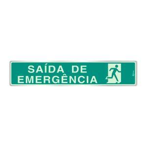 Placa de Sinalização para Saída de Emergência em Alumínio Fotoluminescente 05x25cm F05001 - Indika