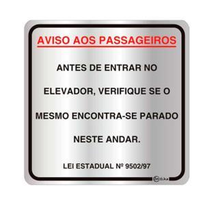 Placa de Sinalização para Aviso aos Passageiros - Lei Estadual 9502/97 16x16cm C16022 - Indika