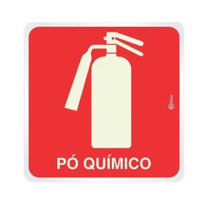 Placa de Sinalização Extintor Pó Químico em Alumínio Fotoluminescente 16x16cm F16009 - Indika