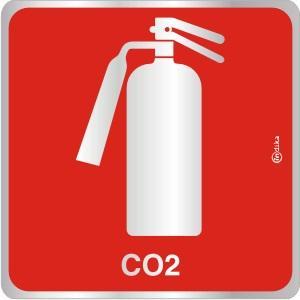 Placa de Sinalização Extintor CO2 em Alumínio 16x16cm C16020 - Indika