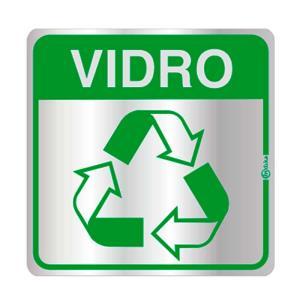 Placa de Sinalização Reciclagem Vidro em Alumínio 16x16cm C16033 - Indika