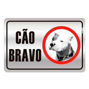 Placa de Sinalização Cão Bravo em Alumínio 16x25cm C25019 - Indika