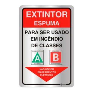 Placa de Sinalização Extintor Espuma em Alumínio 16x25cm C25004 - Indika