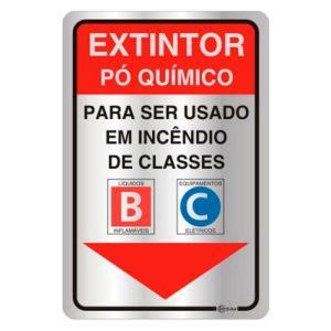 Placa de Sinalização Extintor Pó Químico em Alumínio 16x25cm C25005A - Indika