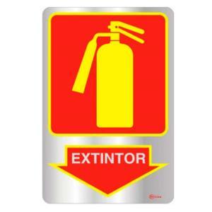 Placa de Sinalização Extintor em Alumínio 16x25cm C25002 - Indika