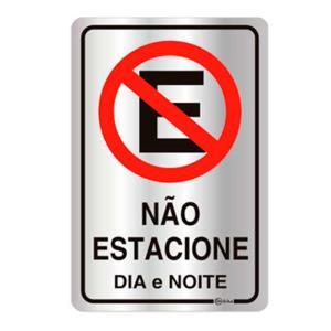 Placa de Sinalização Não Estacione Dia e Noite em Alumínio 16x25cm C25008 - Indika