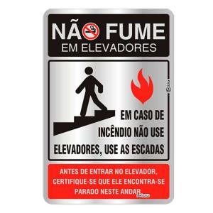 Placa de Sinalização Não Fume em Elevadores em Alumínio 16x25cm C25006 - Indika