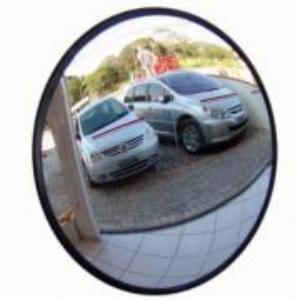 Espelho Convexo de 30cm com Borda de Borracha e Câmera de Segurança - Ligação