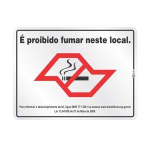 Placa de Sinalização É Proibido Fumar Neste Local - Lei 13.541/09 em Alumínio 15x20cm C15001 - Indika