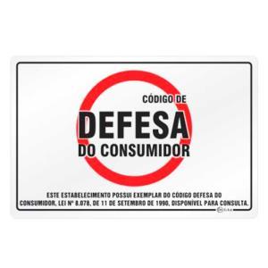 Placa de Sinalização Código de Defesa do Consumidor - Lei N° 8.078 em Alumínio 16x25cm C25047  - Indika