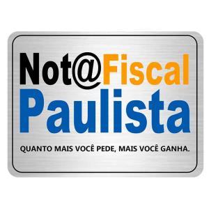 Placa de Sinalização Nota Fiscal Paulista em Alumínio 16x25cm C25048 - Indika