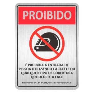 Placa de Sinalização Proibido O Uso de Capacete em Alumínio 16x25cm C25049 - Indika