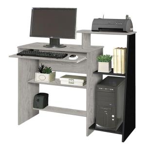 Mesa para Computador Austrália Carvalho Bianco com Preto - Móveis Primus