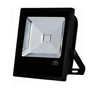 Refletor de Led 30W Branco Frio 6500K IP65 Preto Bivolt - OL Iluminação