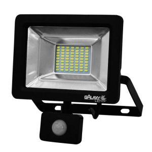 Refletor de Led 20W Slim com Sensor Luz Branca 6500K IP65 Preto Bivolt - GalaxyLED