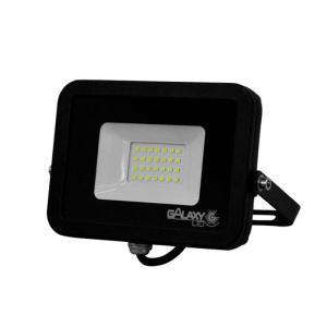 Refletor de Led 20W Slim Luz Fria 6500K IP65 Preto Bivolt - GalaxyLED