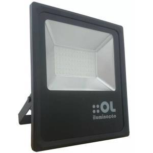 Refletor de Led 100W Branco Frio 6500K IP65 Preto Bivolt - OL Iluminação