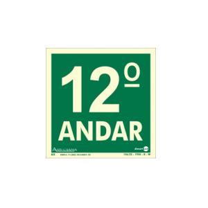 Placa de Sinalização Pavimento 12° Andar Fotoluminescente 18x18 cm PAF347 - Encartale