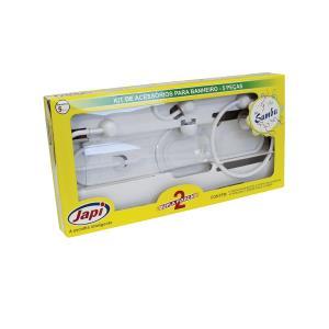 Kit de Acessórios Para Banheiro Samba com 5 Peças Branco JKSB - Japi