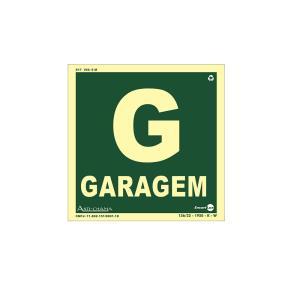 Placa de Sinalização Pavimento Garagem Fotoluminescente 18x18 cm PAF712 - Encartale