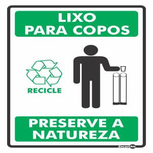 Placa de Sinalização Plástico 15x20cm Lixo Porta Copos PS640  - Encartale