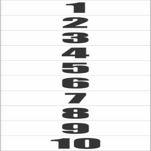 Placa de Sinalização Plástico 6,5x30cm Número 1 a 10 PS143 - Encartale  - Encartale