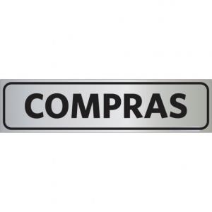 Placa de Sinalização Alumínio 05x25cm Compras C05021 - Indika