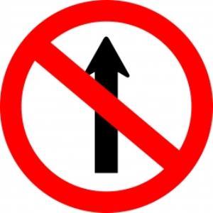 Placa de Sinalização Plástico 40x40cm Proibido Seguir em Frente PS466  - Encartale
