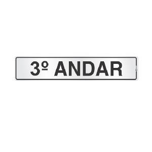 Placa de Sinalização Alumínio 05x25cm 3 Andar C05049 - Indika