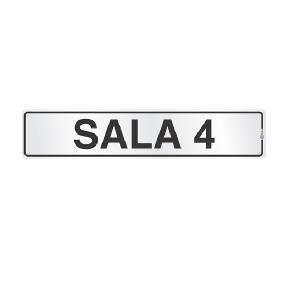 Placa de Sinalização Alumínio 05x25cm Sala 4 C05037 - Indika