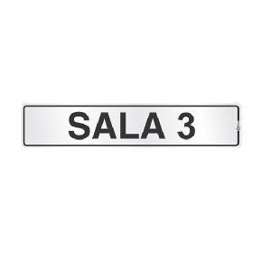 Placa de Sinalização Alumínio 05x25cm Sala 3 C05036 - Indika